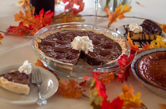 Chocolate Pecan Pie and Chocolate Cheesecake