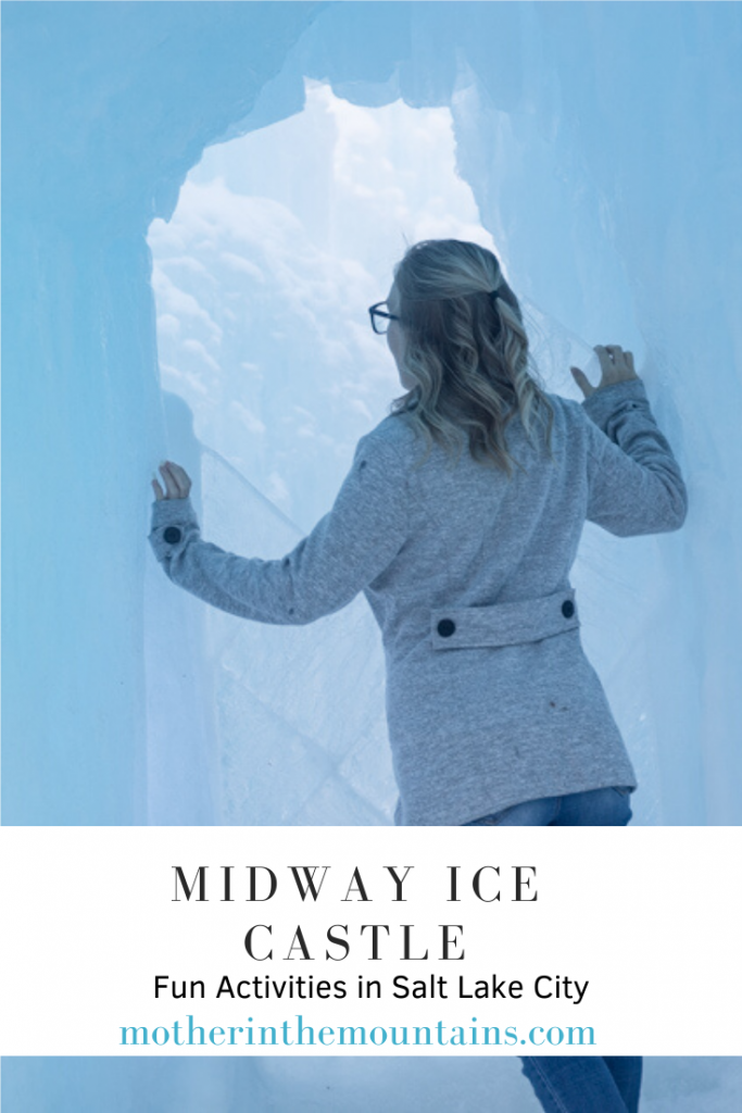 pinterest image with midway ice castle text information
